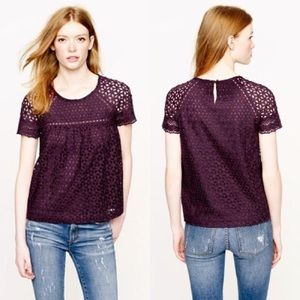 J. Crew Tops - J. Crew Purple Eyelet Top